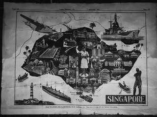 Singapore Vintage Building Map/Street Map 1949