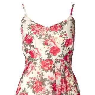 Floral Multi Mini Dress Red Chiffon Size 16 Brand New W Tags
