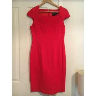 David Lawrence - Red Ottoman Work Dress - Size 10