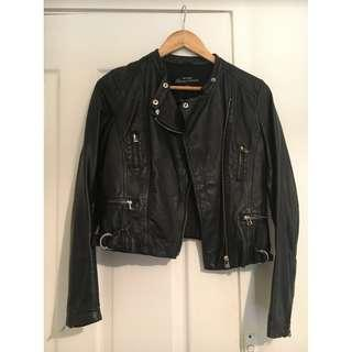 Just Jeans Black Leather Jacket - Size 8