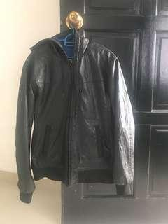 zara young leather jacket with hoodie