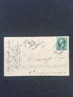 US 1880 Envelope w 3c Green Banknote Washington, Sacramento to San Francisco