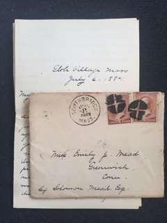 US 1884 Cover + Letter w Pair of 2c Brown Banknote Washingtons, Southbridge Massachusetts to Greenwich Connecticut