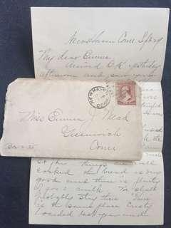 US c1880-90 Cover + Letter w 2c Brown Banknote Washington, New Haven to Greenwich Connecticut