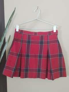 High waisted pleated tartan skirt
