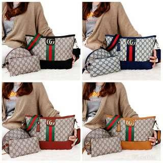3 in 1 Bags GU**I Natasyah Stripe GG 10031*