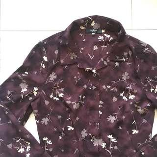Instock! - Vintage Dark Purple Mahogany Floral Collared Fitted Button Down Shirt Blouse