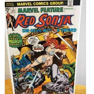 Marvel Feature #1 VF+/NM- Red Sonja First Issue Dick Giordano Art!