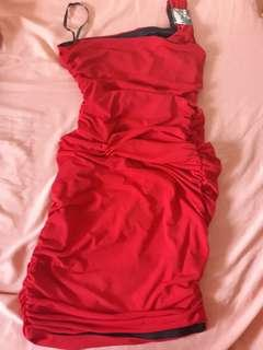 Red sheered venus cut dress