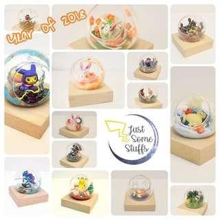 手作禮物 玻璃球 精靈球 寵物小精靈 Pokemon Pokeball 扭蛋 比卡超 伊貝 卡比獸 各種卡通公仔
