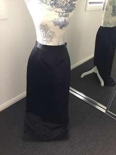 Women's satin black high waisted floor length skirt