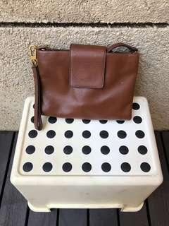 Fossil brown leather crossbody bag for sale!