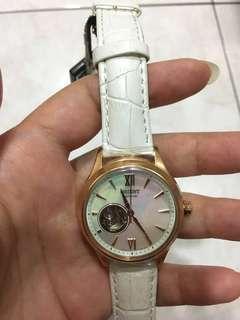 🚚 ORIENT 東方錶 ELEGANT系列 鏤空錶 機械錶 皮錶帶 白色 玫瑰金框