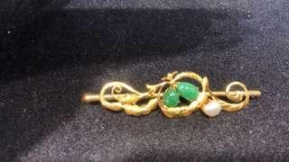Vintage Jade Brooch Pin