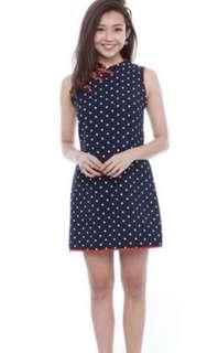 Fairebelle Moonlovers Polkadot Cheongsam in Navy and red