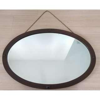 Vintage Wall Mirror , Oval , Solid Mahogany Frame , Bevel Edged