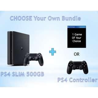 PS4 SLIM 500GB Choose Your Own Bundle *GAME Of Your Choice OR Additional Controller (Brand New With Local Warranty)
