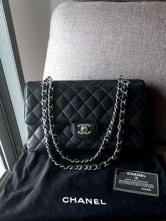 ✔Authentic CHANEL Medium Double Flap Caviar Black (SHW)
