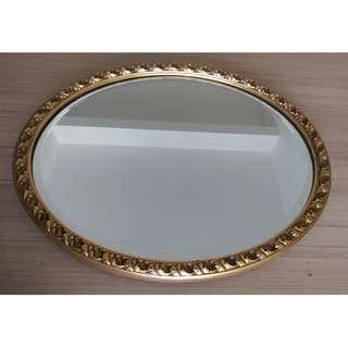 Vintage Wall Mirror , Oval , Gold Detailed Frame , Bevel Edged