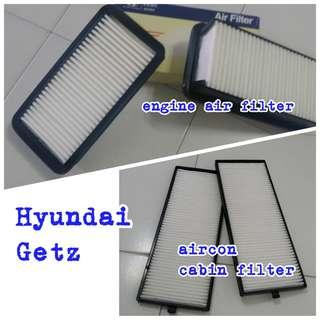 Cheap sales Hyundai Getz engine air filter, aircon cabin filter