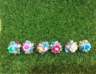 Handmade Crystal & Clay Flower Adjustable Rings