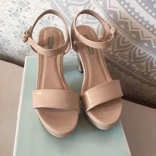NOSE Nude Pointed Wedges Heel Sandal