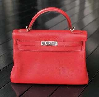 Hermes Kelly 32 Rouge Cassaque PHW