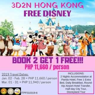 Book 2 Get 1 Free: 3D2N Hong Kong with Free Disney