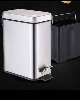 5L Rectangular stainless steel trash can pedal kitchen living room bathroom wastepaper bin