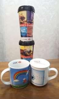 $100 x 4 (滙豐銀行 HSBC CUP 水杯x2, 滙豐 Coffee Mug 咖啡杯x 2)