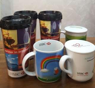 $100 x 6 (滙豐銀行 HSBC CUP 水杯x3, 滙豐 Coffee Mug 咖啡杯x 3)