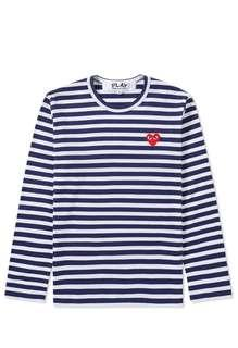 Authentic Comme Des Garcons Play (CDG) Womens Long Sleeve Heart Logo Stripe Tee