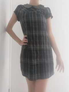 Dotti Tartan Short Dress Plaid with Collar Size 6