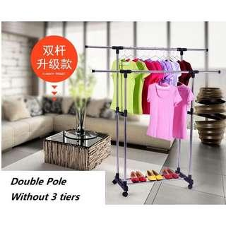 Free delivery double pole clothes rack