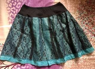 Genevieve Gozum Bluegreen & Black Lace Skirt