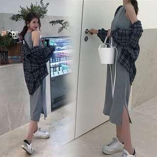 🚚 Playdress Ulzzang Slit Spaghetti Dress
