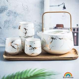 🚚 Marble Swirls Teapot Set