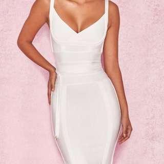 'BELICE' White Tie Waist Bandage Dress