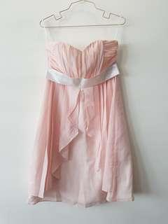 Peach Chiffon Sweetheart Neckline Tube Dress for Occasion