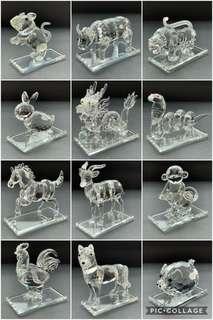 💎 100%全新 HSBC 滙豐銀行 Chinese Zodiac 十二生肖 Crystal 水晶 擺設 Full Set 全套