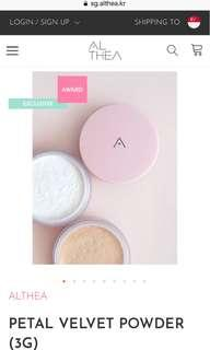 BNEW and SEALED Althea Velvet Powder