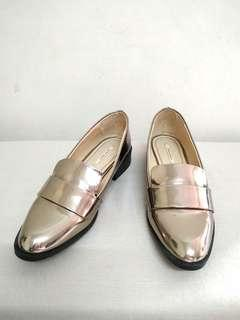 Zara Metallic Gunmetal Loafer Flat Shoes