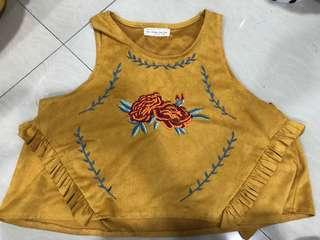 Tribal inspired suede Crop Top
