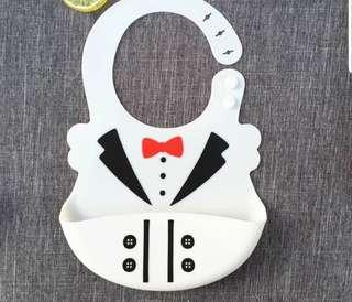 White Suit with Tie Baby Bibs