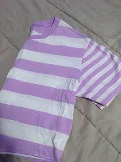 Garage Purple and White Striped Crop-top