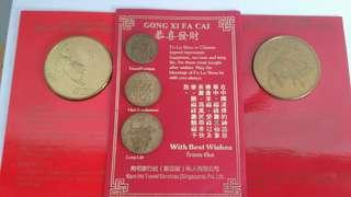 """1985 """" Year Of The OX"""" Medallion & 1987 """"Year Of The Rabbit"""" Medallion And """"Fu""""Lu""""Shou"""" Medallion"""