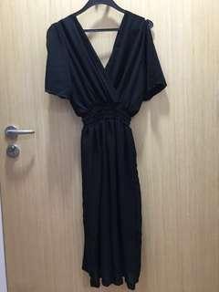 Chiffon V Neck Black Slit Sleeve Dress
