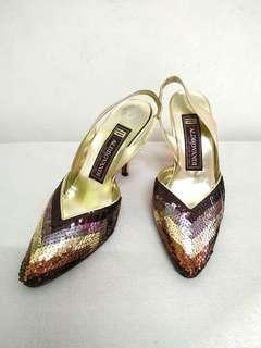 VINTAGE ALDROVANDI SEQUIN DINNER SHOES. Hand Made ln ltaly