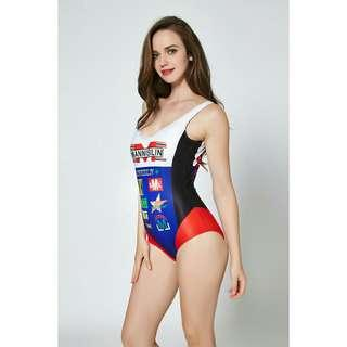 Racer Print One Piece Swimsuit
