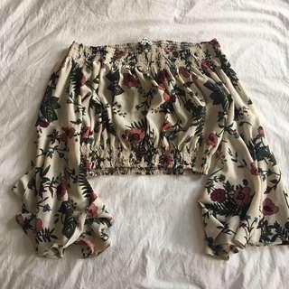 rumor boutqiue off shoulder floral top
